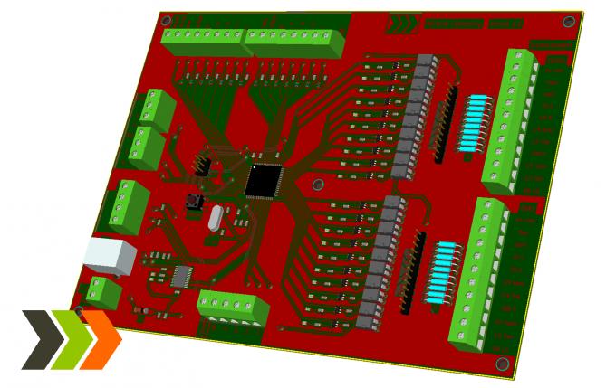 Platine zur Verarbeitung der Lichtschrankensignale, Ansteuerung der Ampel und Kommunikation mit dem Server. Basis ist ein Atmega128 Mikrocontroller