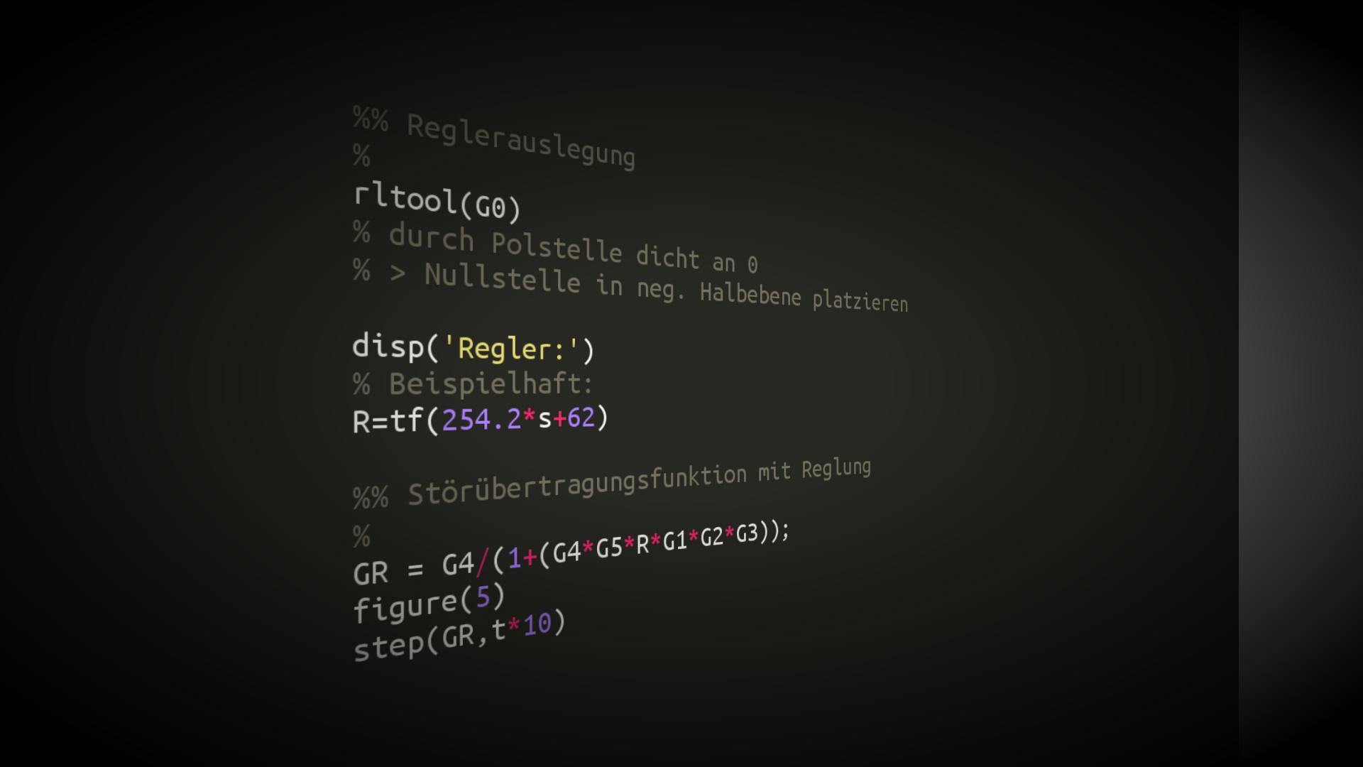 Matlab Code für die Control System Toolbox, um den Regelkreis zu untersuchen