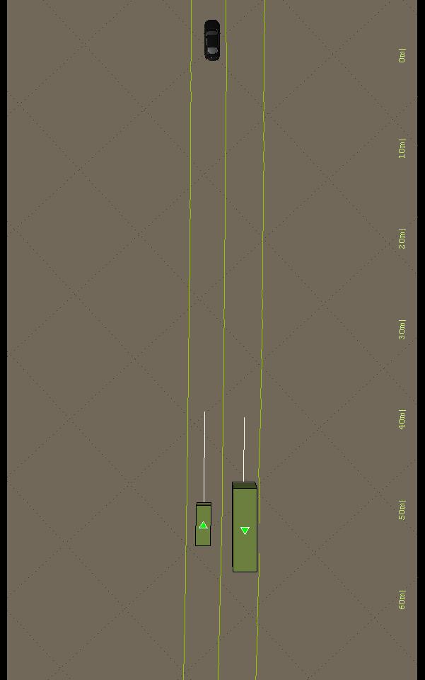 Egofahrzeug (schwarz) mit Fahrspuren (grün) und erkannten Fahrzeugen (grün) mit Geschwindigkeitsvektoren