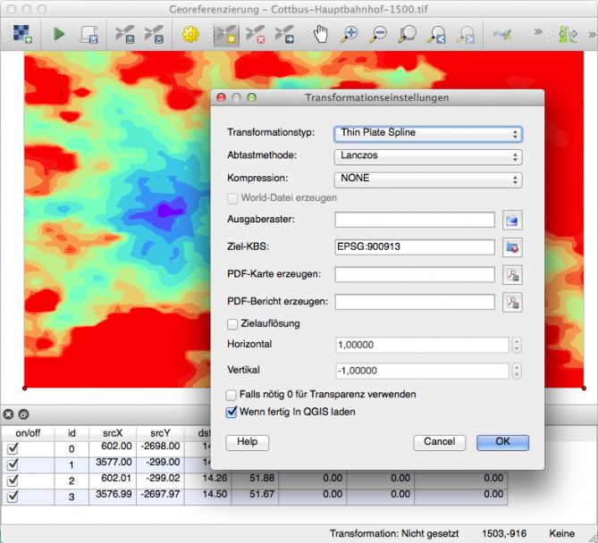 Georeferenzierungs-Plugin von QGIS