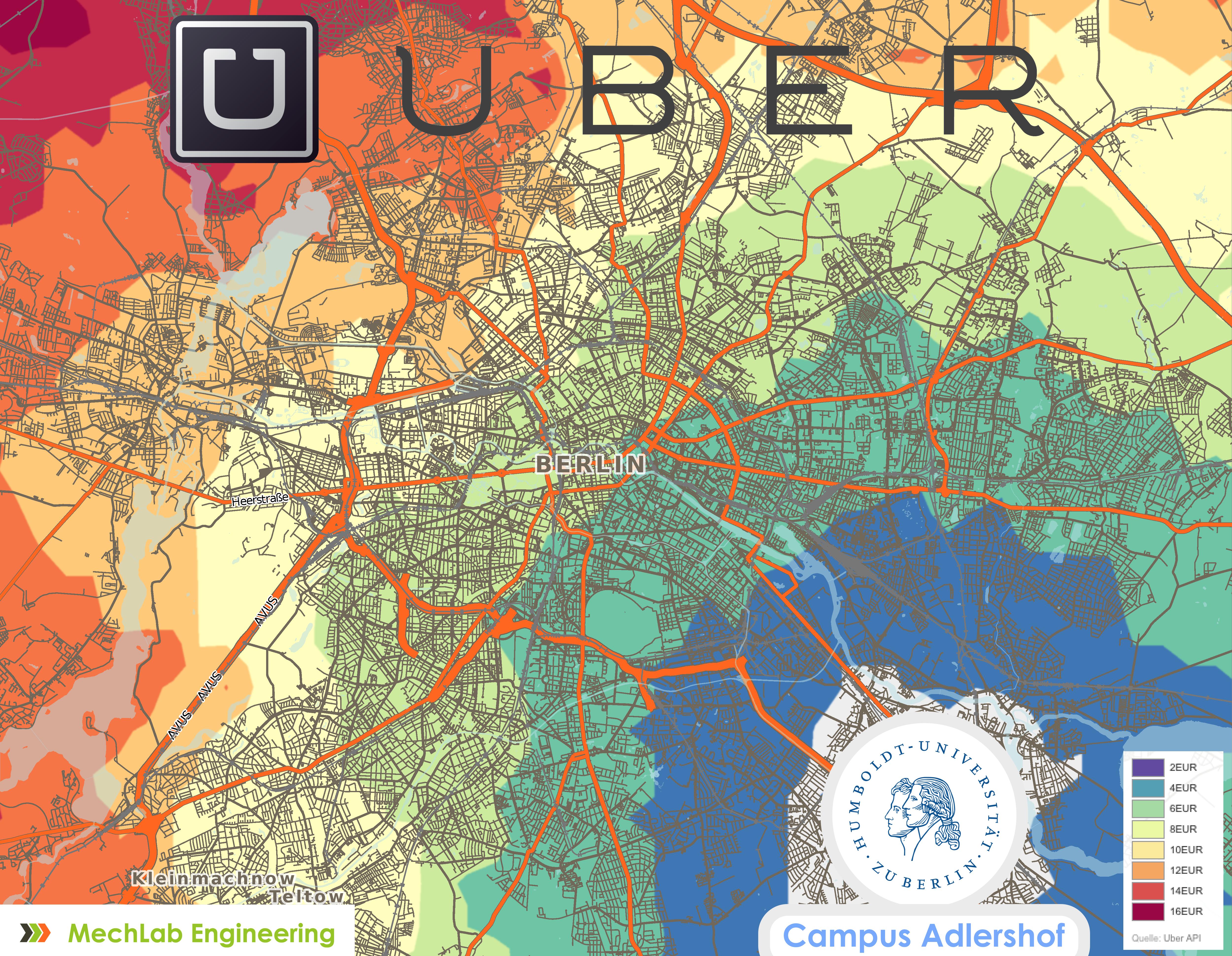 Durchschnittlicher Fahrpreis mit Uber ab HU Berlin Campus Adlershof