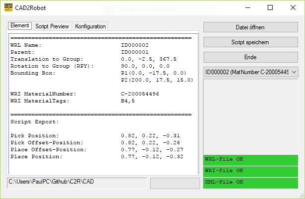 CAD2Robot Screenshot
